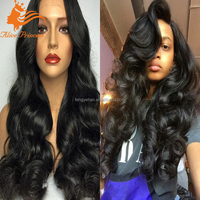 Top Quality Cheap Natural Color Body Wave 100 % Virgin Brazilian Full Lace Human Hair Wig For Black Women