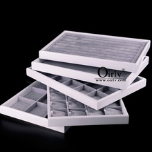 Oirlv Factory Manufacturer Durable White Lacquered Jewelry Display Trays for Ring Bracelet Necklace Trinkets Custom Wood Tray