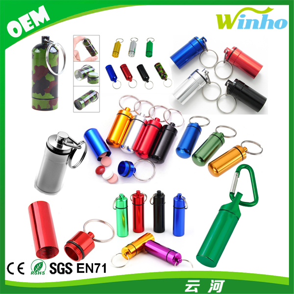 Winho small metal container aluminum pill box holder keychain