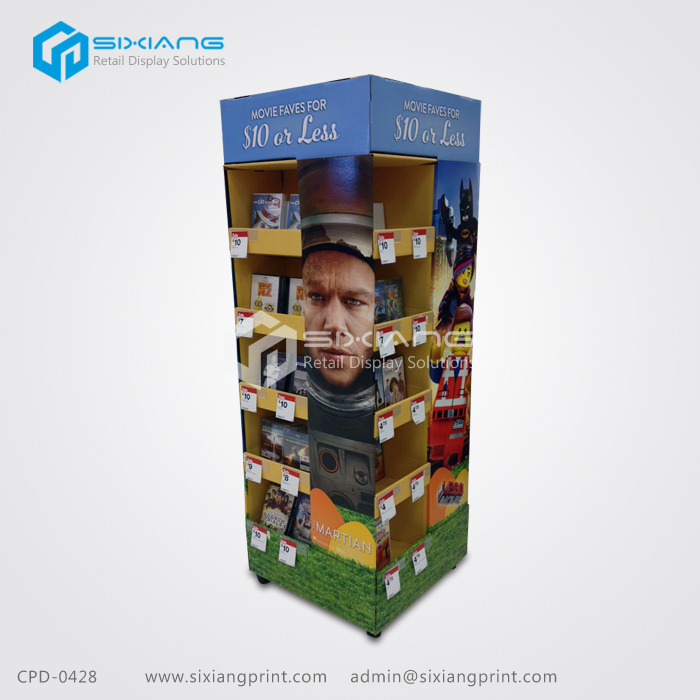 Good Quality Retail Cardboard Movie Spin-off Products CD DVD Books Paper Display