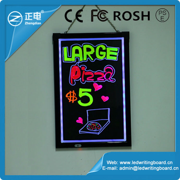 Tempered glass outdoor 90 kinds flashing modes remote control bettery inside led lighting signboard writing board