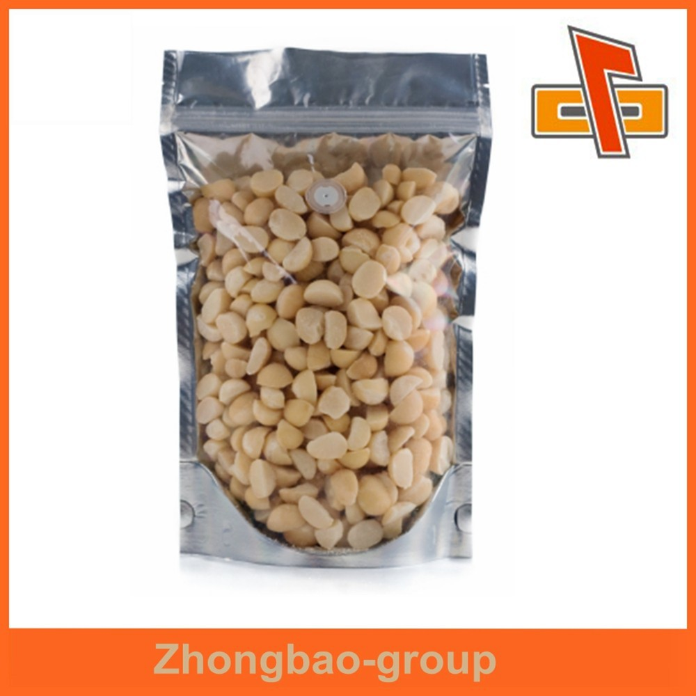 Stand up foil back plastic clear ziplock bag for nuts packaging with air release valve
