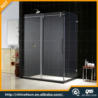 3 panel sliding sliding shower door with curved glass