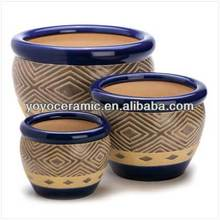 Cobalt Blue ceramic flower pot painting designs