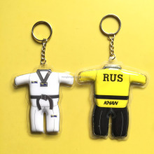 OEM Taekwondo clothing Plastic LED Keychain , Cheap Custom Airplane PVC LED Keyring, Car Shape PVC Key holder with LED