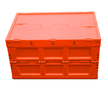 orange color Plastic Foldable Container Collapsible Crate With Lid