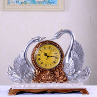 factory direct sell decorative silver swan table clock at competitive price