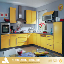 Modern Bright Yellow Aluminium Handle Kitchen Set Cabinet