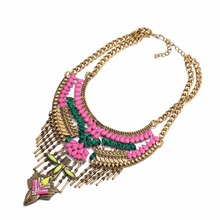 Euro style vintage colorful big alloy long pendant exaggerate maxi statement necklace