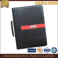 Black leather folder pad holder folios with handle and metal ring binder