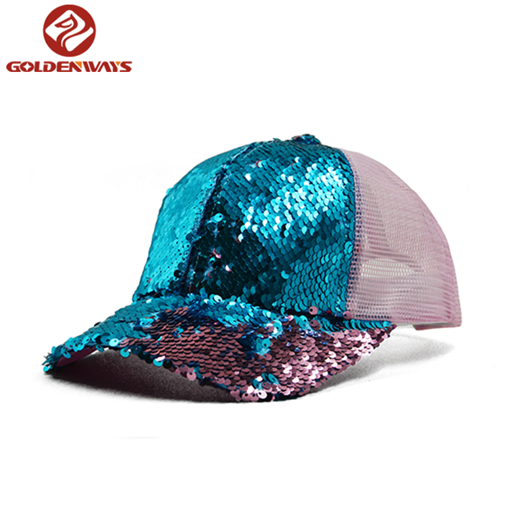 Wholesale fashion blue reversible sequin 6-panel trucker <strong>hat</strong>