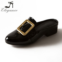 Fashion Square Belt Buckle Slides Mirror Leather Court Shoes Mid Block Heel Dress Women Mule Slippers