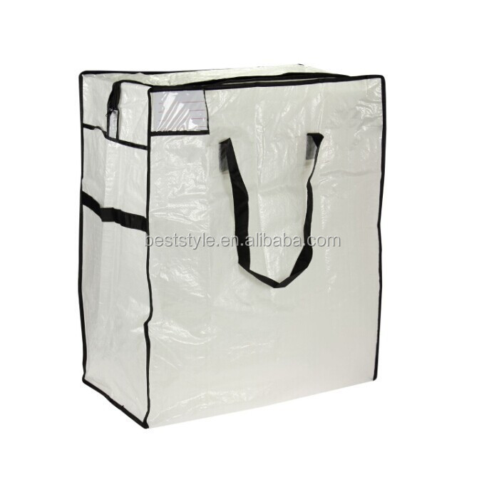 Black nylon handle clear quilt vinyl zippered storage bag