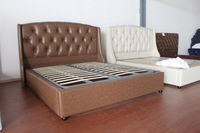 Hotel upholstered king size bed frame and headboard