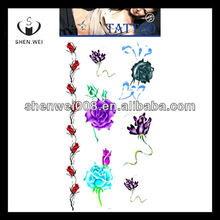 various color flower designs neck name tattoo arm