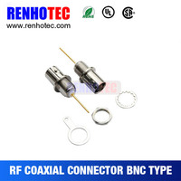 Long Gold Plated Pin 180 Degree BNC Jack Bulkhead PCB Mount RF Auto Connectors