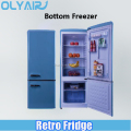 BCD-192LH retro fridge, double door refrigerator bottom freezer