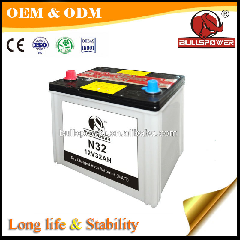 Auto battery JIS standard,Dry charged car batery N32