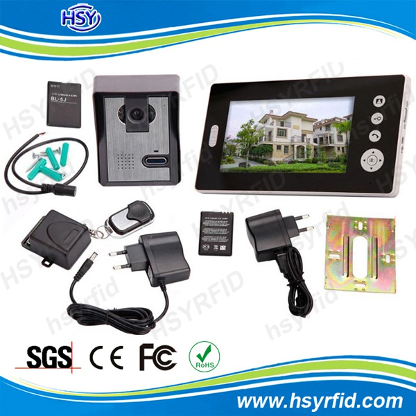 7 inch 4 apartment video intercom system with 2.4ghz frequency