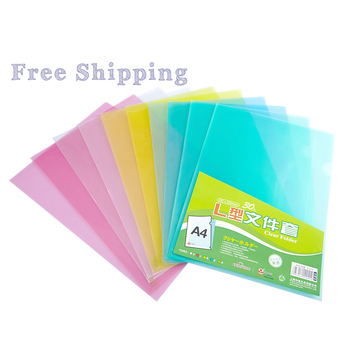 Fudek school supplier Customized A4 size transparent clear printing plastic PP L shape file folder for promotion