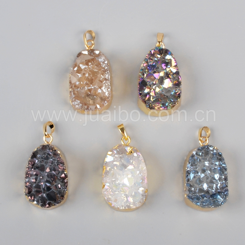 wholesale agate druzy pendants, agate geode slices gold plated druzy jewelry