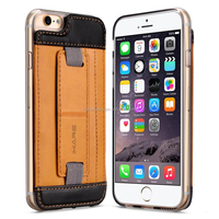 Slim Genuine Leather Wallet Case With Card Holder with Kick-Stand Feature For Iphone 6S