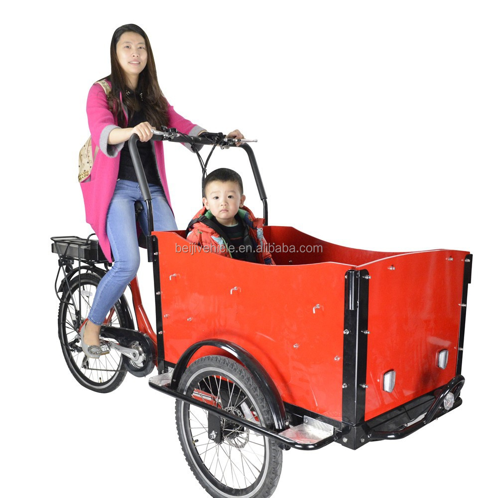 Family three wheel pedal cargo bike/electric cargo bike on sale in Holland