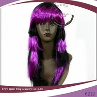 Long straight black and purple multi color straight halloween wig for party