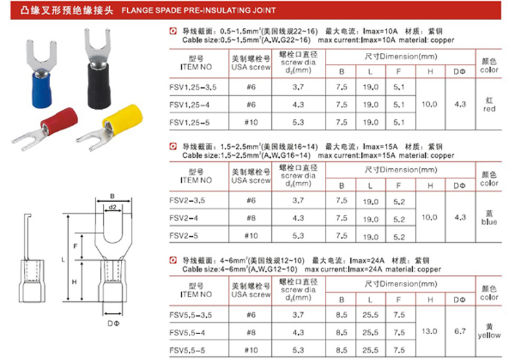 T21-Highest quality CE RoHS FSV insulated flange spade connectors female terminal