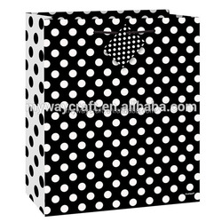 Hot Selling Medium Yellow/Red/Black Dot Paper Gift Bag With Mini Hang Tag