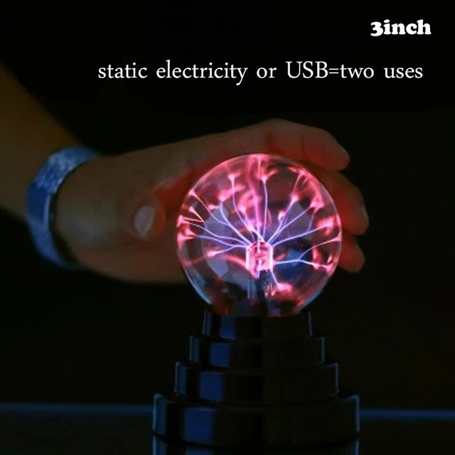 3inch USB Plasma Ball Sphere Light Magic Crystal Lamp static electricity Touch Sensitive negative ion Magic Mood Night light