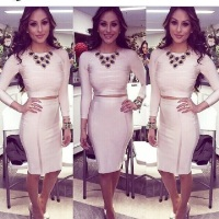 2016 new designs bandage white dresses crop top casual elegant sleeves knee tight dress