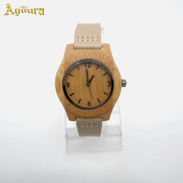 Girls Watch Bamboo Wood Wristwatch with Genuine Leather