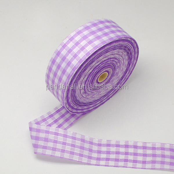 Purple Tartan Ribbon, Gird Pattern, 40mm, 100yards/roll(SRIB-S004-40mm-6)