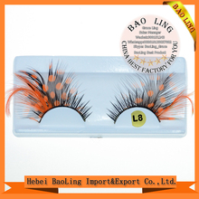 retail fancy feathers curl false eyelash Multicolor Halloween Eyelashes