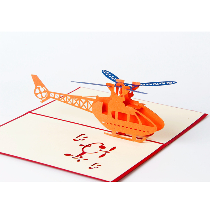 1pcs Helicopter 3D Paper Laser Cut Pop Up Anime Vintage Birthday Greeting Cards Gifts Wishes Postcards Crafts with Envelope Gift (2)