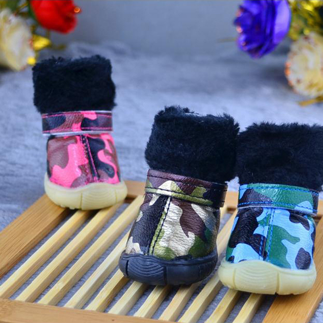 Winter Dogs Non Slip Shoes Warm Plush Welt Pets Camouflage Color Snow Boots