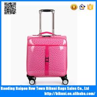 Fashion organizer airport 16 inch girls trolley luggage bag with laptop compartment travel wheels trolley bag