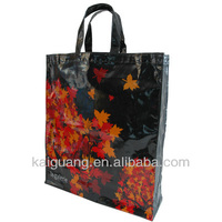 Shinny Pvc Coated Tote Leaf Bags waterproof Pvc Bag With Long Shoulder