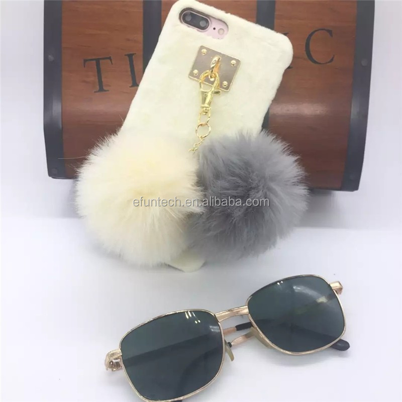 Wholesale cheap winter lady use furry mobile phone case for iphone 6 6s case