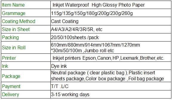 115g/135g/150g inkjet waterproof high glossy photo paper A4