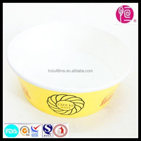2015 New Style Yellow Color Custom Logo Printing Disposable Paper Packaging Bowls for Salad/Soup/Sushi