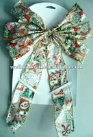 Large Indoor Outdoor Decorative Wired Gold Trim Edge Organdie Ribbon Fabric Christmas Bow Tie