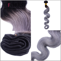 HOT Sale Silver Grey Ombre Human Hair Extensions 3 Pcs 1B Grey Body wave Hair Two Tone Ombre Brazilian Virgin Hair Grey Weave