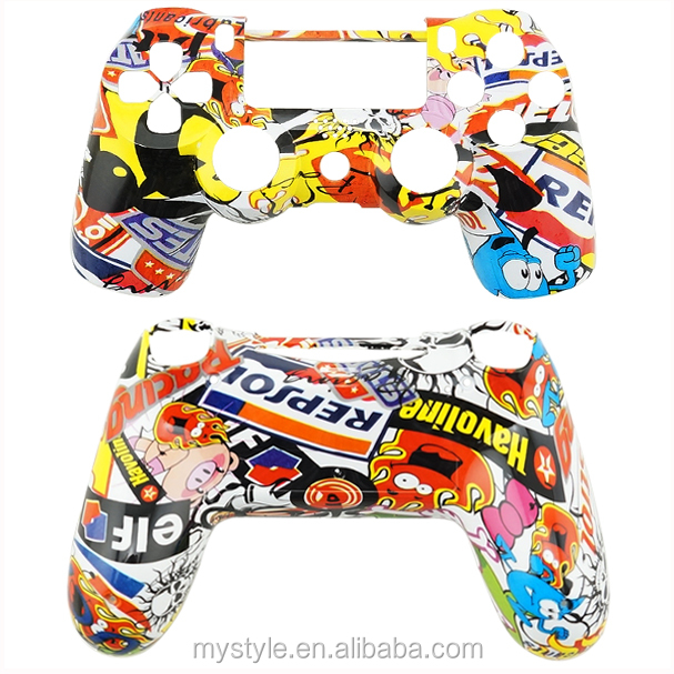 Hydro Dipped Sticker Bomb Mod Kit Replacement Parts for PS4 controller Housing Shell Case