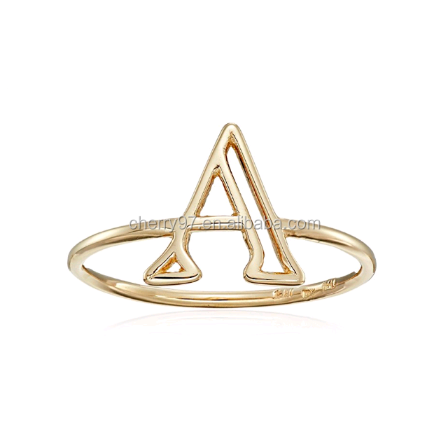 Hot Sale Simple Stainless Steel 14k Yellow Gold Plated Wholesale Jewelry Custom Initial Ring