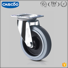 "CASCOO 5"" industrial recessed elastic rubber cover ball bearing shipping container caster black, cart spoke wheel"
