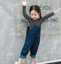 KS30742A 2017 fashion soft cotton denim overalls for kids girls