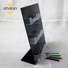 JINBAO desktop display tent place name card holder clear plastic acrylic business card storage box