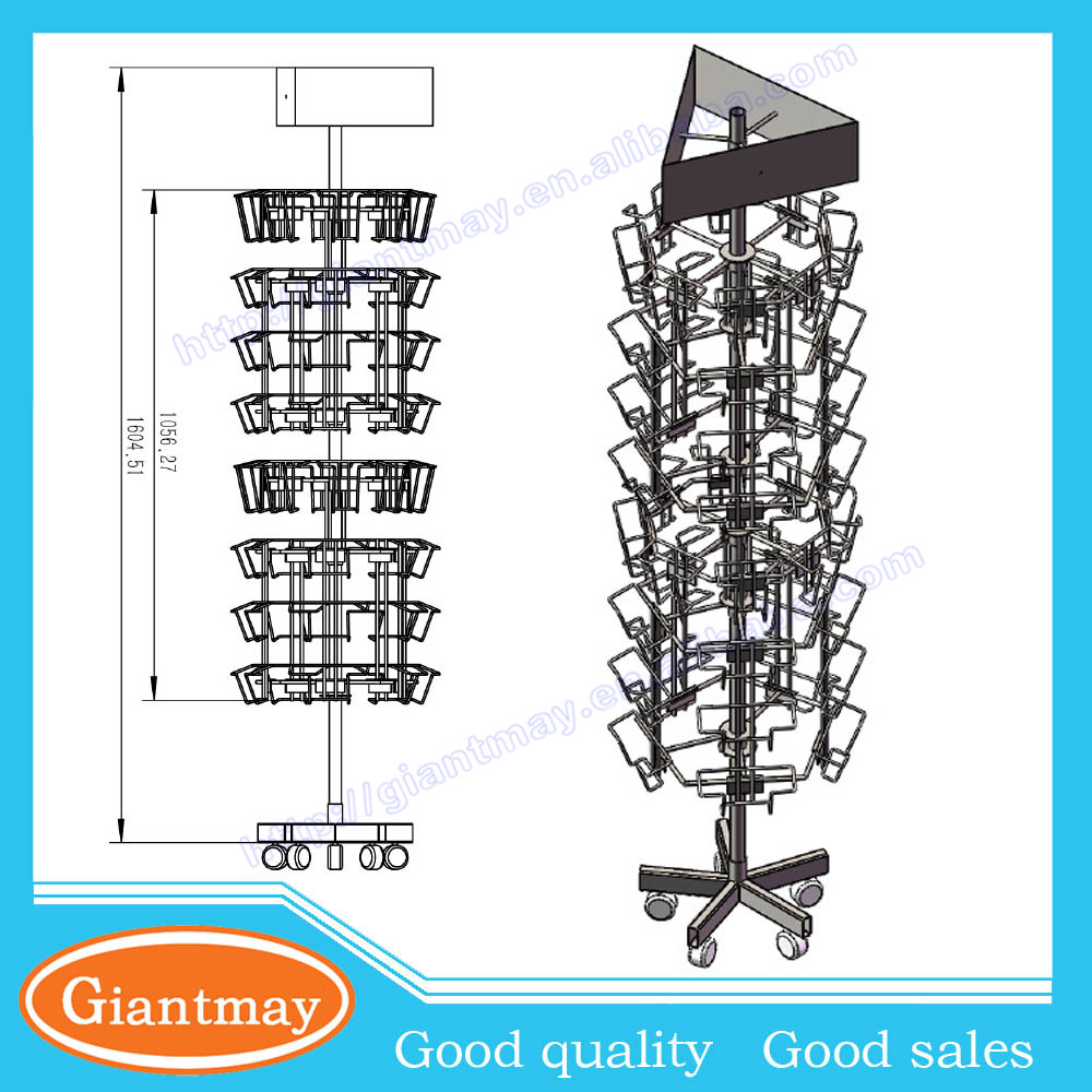 Multifunctional promotional wire rotating display stand greeting cards rack